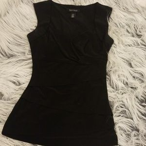 Black Capsleeve Sweetheart Neckl WHBM Illusion Top